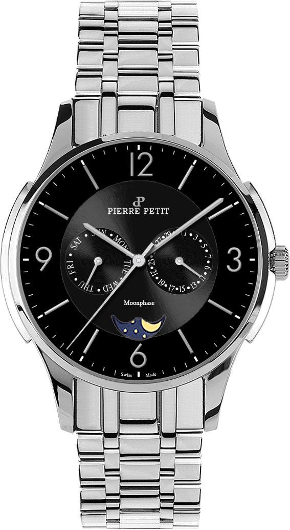 Pierre Petit Multifunktions-Uhr St. Tropez schwarz Swiss made