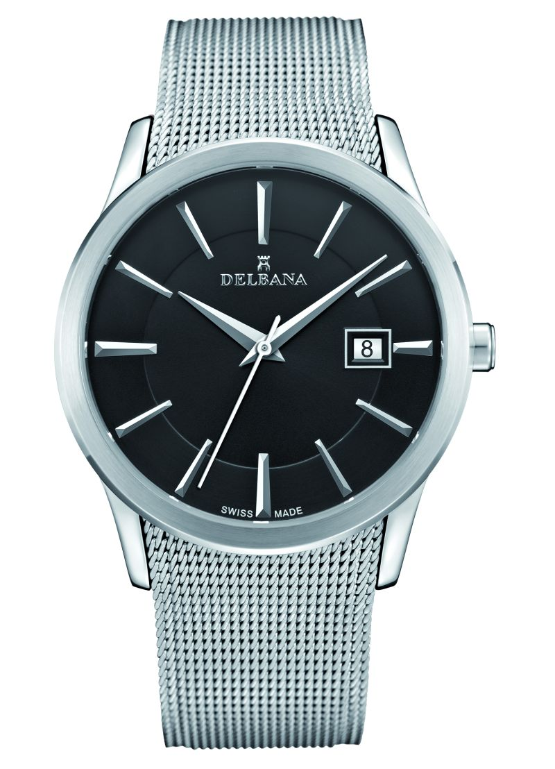 DELBANA HAU stainless steel/dial black with Milanese band - Swiss made