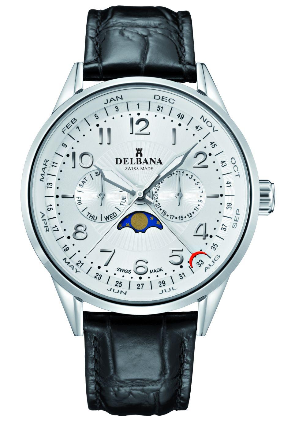 DELBANA Retro Mondphase, leather, dial white - Swiss made