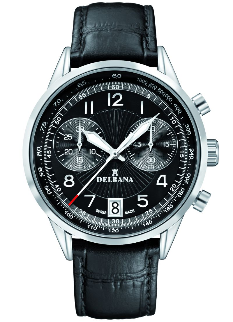 DELBANA Retro Chronograph, leather/dial black - Swiss made
