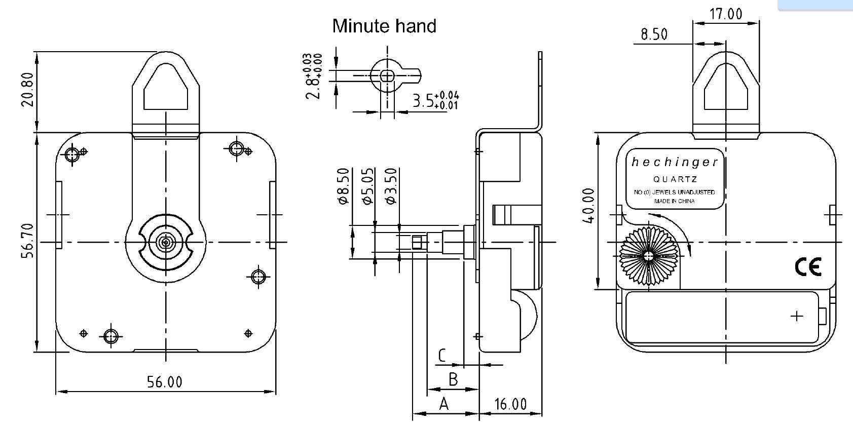 Quarzwerk Hechinger WX Langloch, ZWL 23,50mm