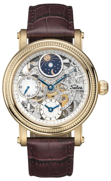 SELVA Herren-Armbanduhr Handaufzug, vergoldet, Sonne- und Mondphase, kleine Sekunde