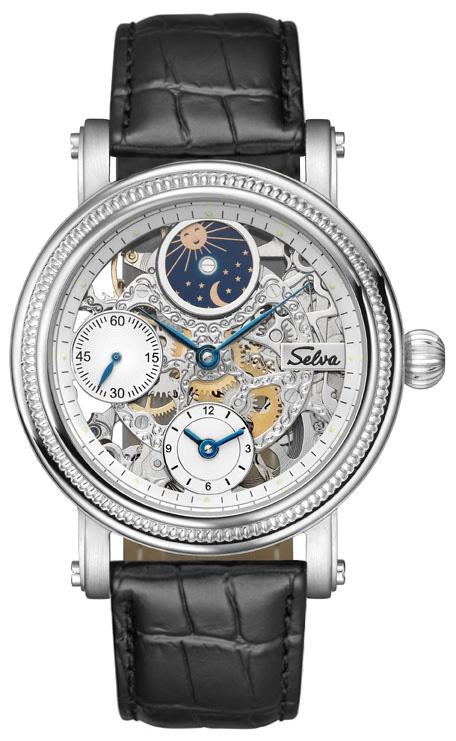 SELVA Herren-Armbanduhr Handaufzug, Sonne- und Mondphase, kleine Sekunde
