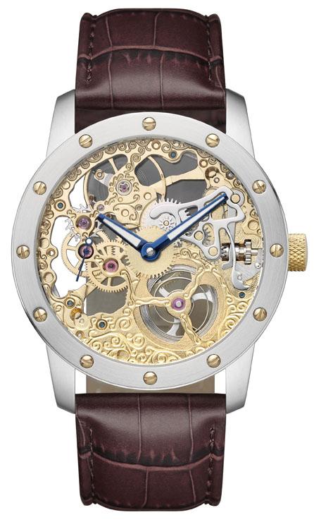 Bracelet-montre pour homme SELVA remontage manuel, squelette apparent, dorée