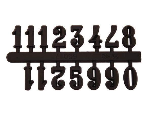 Zahlensatz 1-12 Kunststoff schwarz 30mm arabische Zahlen