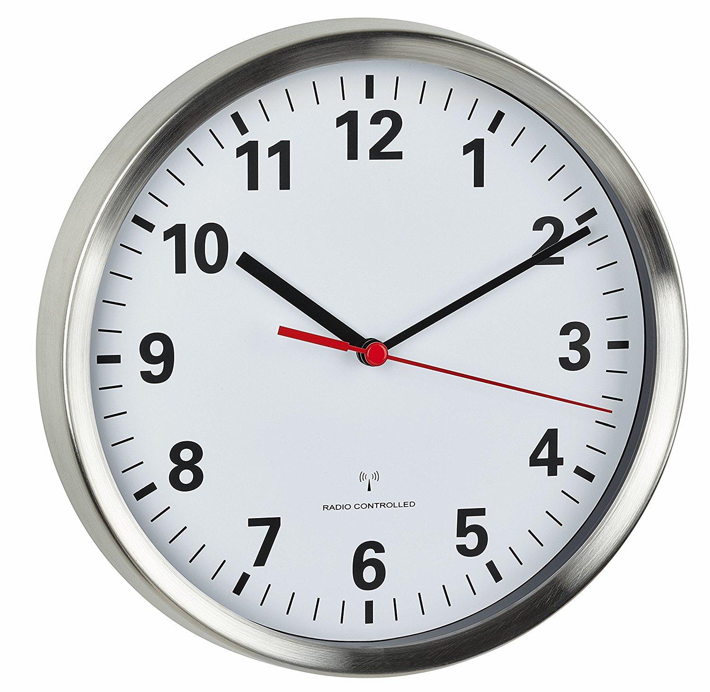 TFA Funk-Wanduhr Aluminium Sweep Uhrwerk - sehr leise