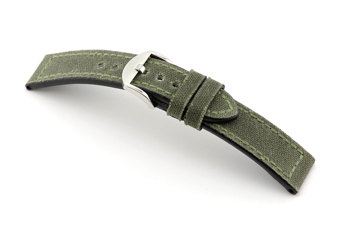 Leather strap Mansfield 22 mm nato green