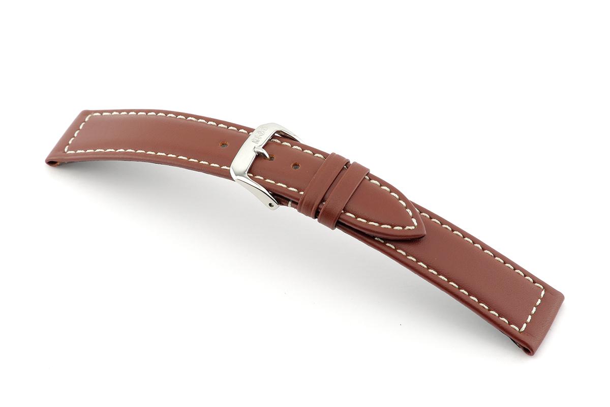 Bracelet-montre en cuir Del Mar 22 mm acajou