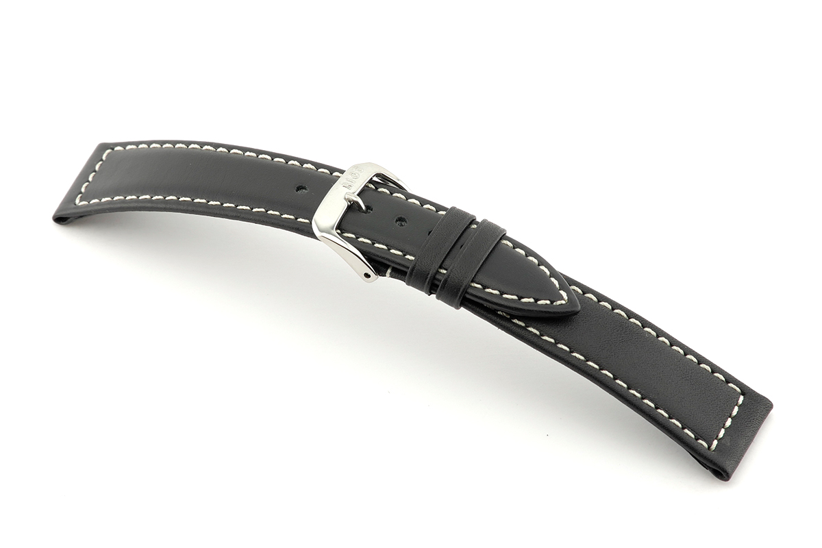 Leather strap Del Mar 18 mm black