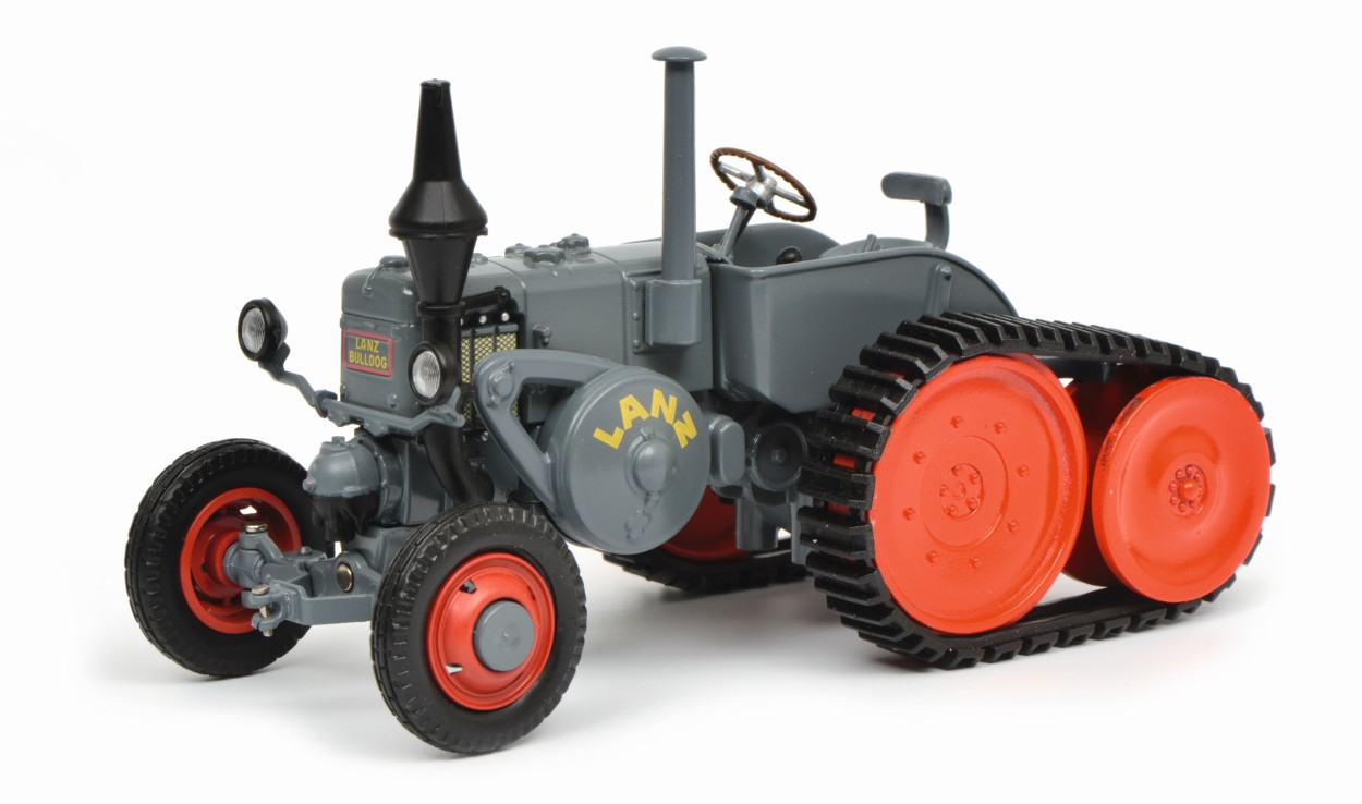 SCHUCO model Lanz Ackerluft with half caterpillar, gray