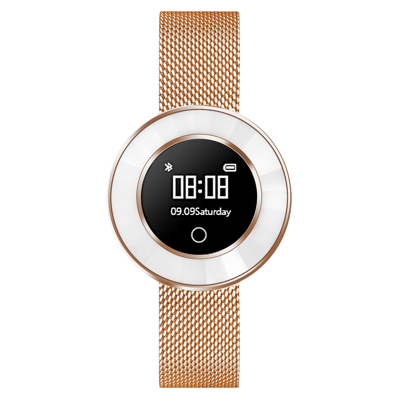 Fitness Tracker, rosé-gold, Mesh-Armband