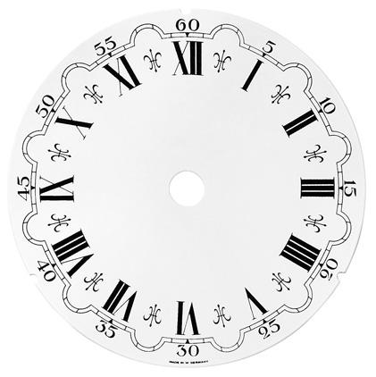 Zifferblatt Ø 110 mm weiss römisch. Alu St. 0,4 ML