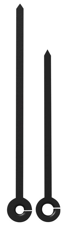 Zeigerpaar Funkuhr Balken spitz schwarz Minutenzeiger-L:90mm