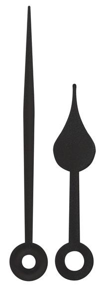 Couple d'aiguilles poire, plastique noire, horloge radio, aiguille des minutes 65mm