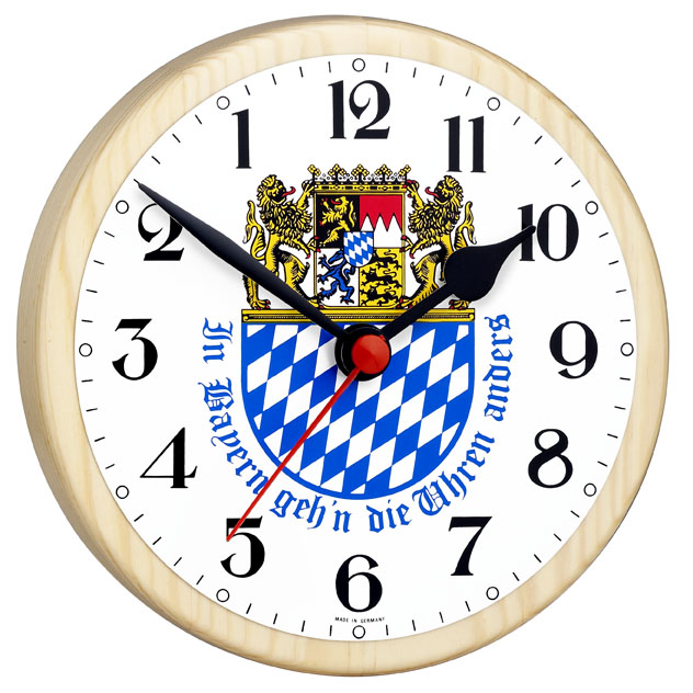 Bayernuhr mit Wappen - Rückwärtsläufer-Uhr