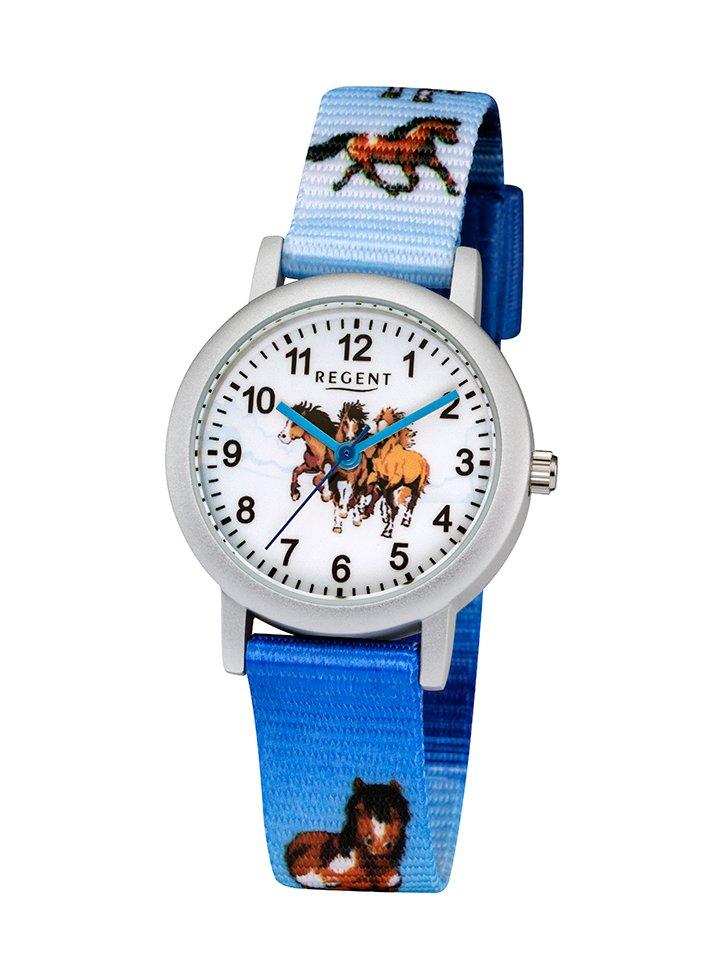 REGENT Kinderuhr Pferde blau