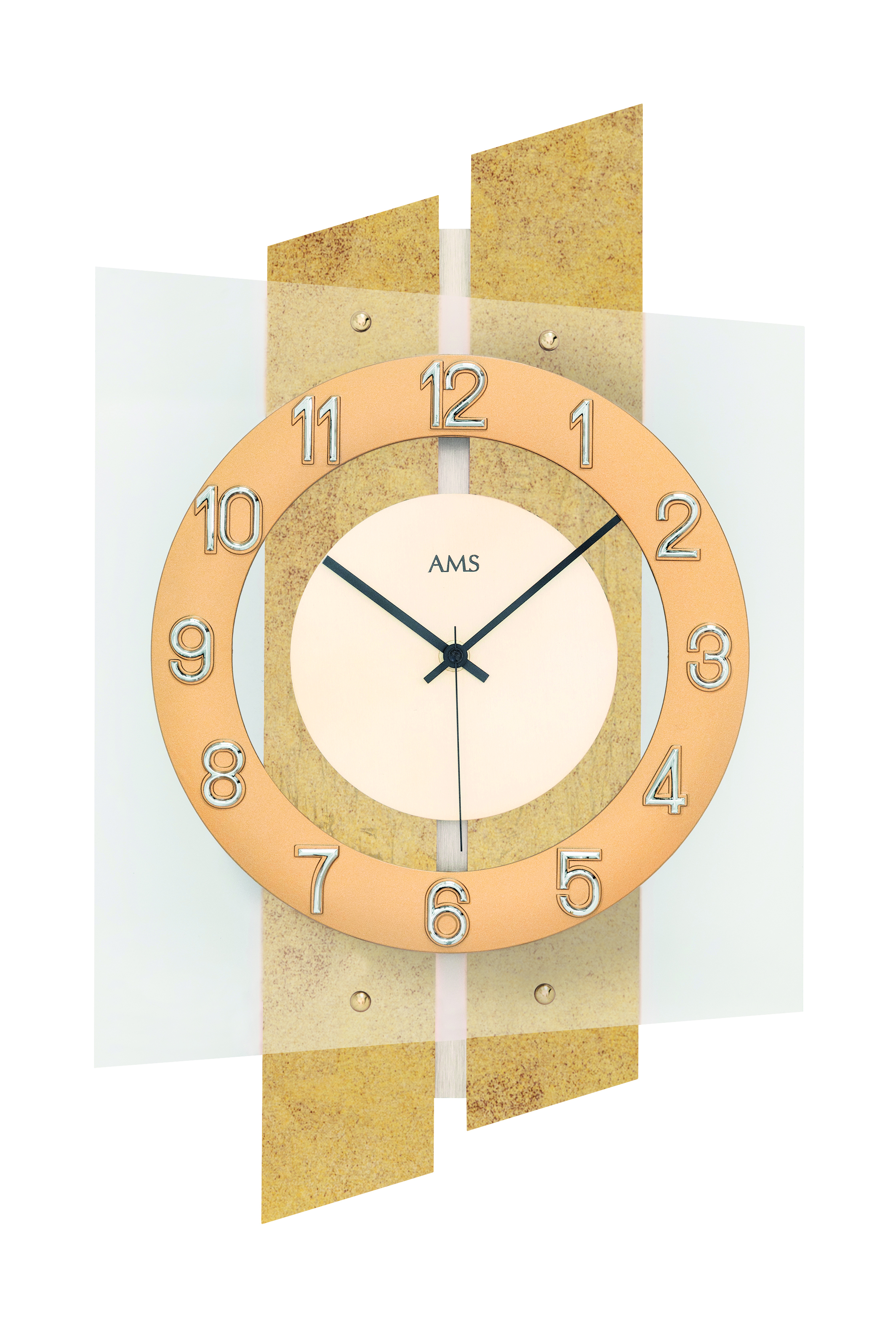 Radio controlled clock, brass and mineral glass, 29x46x7cm