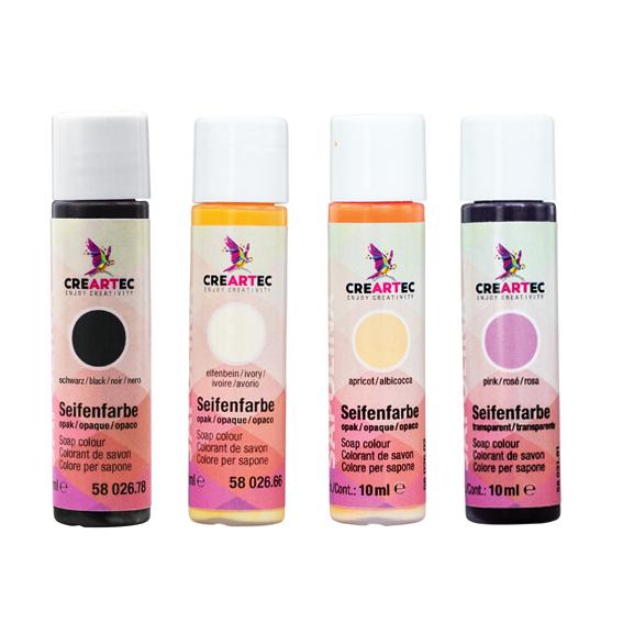 Seifenfarben opak - 4er-Set - Schwarz, pink, elfenbein, apricot