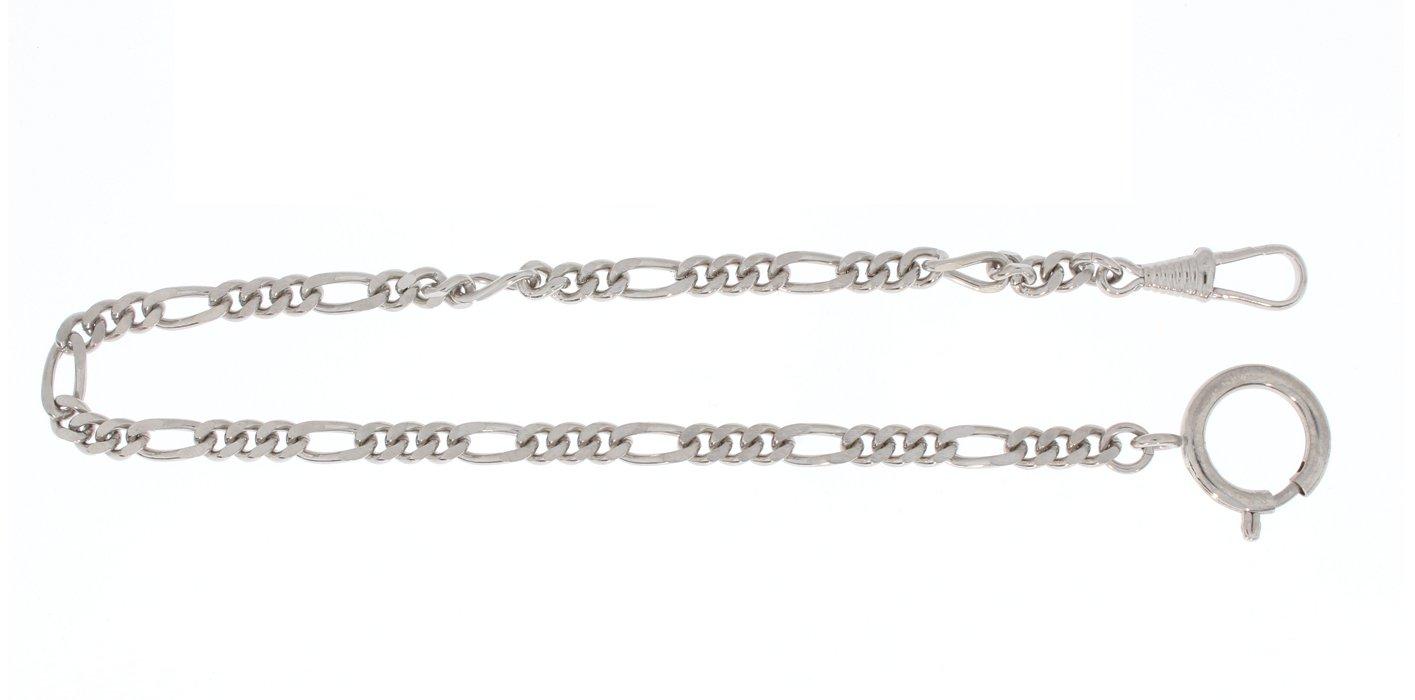 Pocket watch chain Figaro curb chain flat, brass nickeled