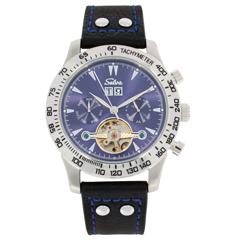 SELVA Herren-Armbanduhr »Hector« - Tachymeter - blaues Zifferblatt