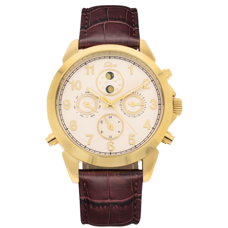 SELVA Montre-bracelet d'homme »Santos« - Soleil/lune - doré