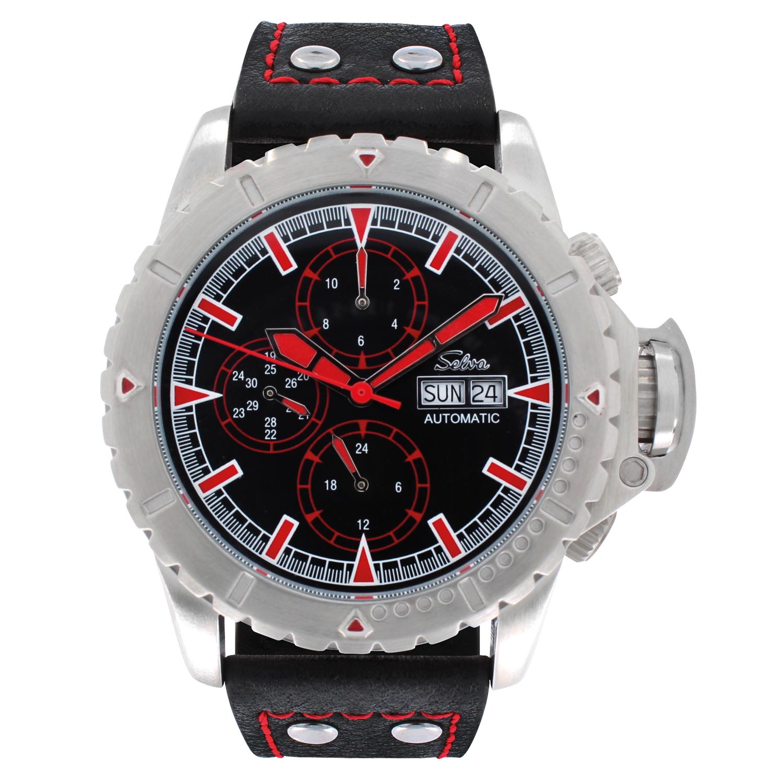SELVA Men's Watch »Vasco« - black-red