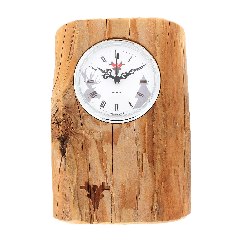 Altholz-Uhr made in Germany, Zifferblatt weiß