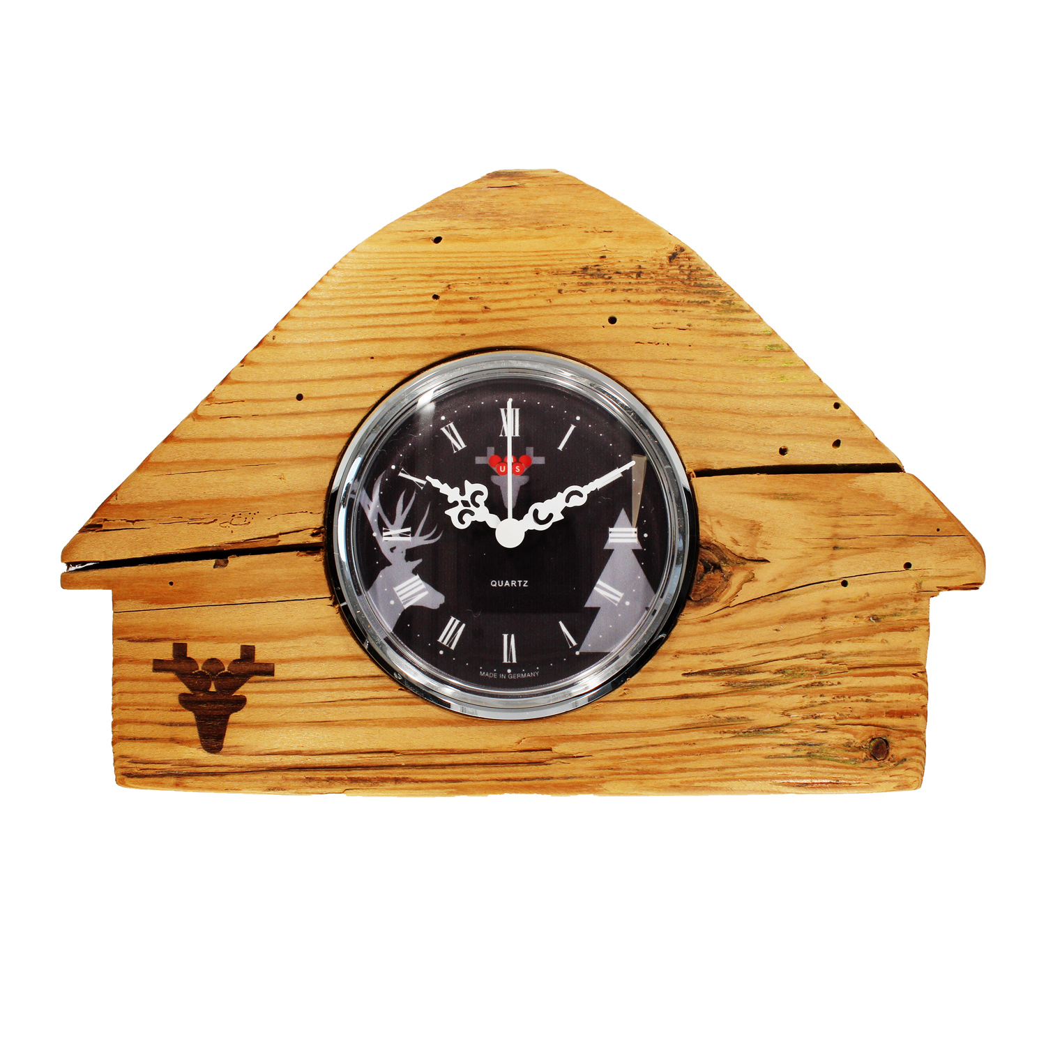 Matured forest clock, Made in Germany, black dial, Black Forest lodge