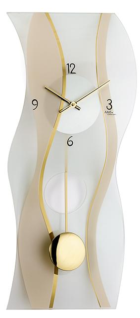 AMS Quarz-Pendelwanduhr Glas, gelb