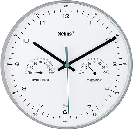 Funk-Wanduhr mit Thermometer/ Hygrometer, silber-grau