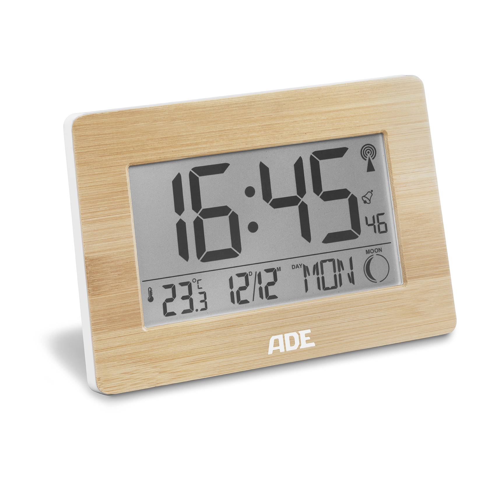 Radio controlled clock with moon phase, temperature and date display