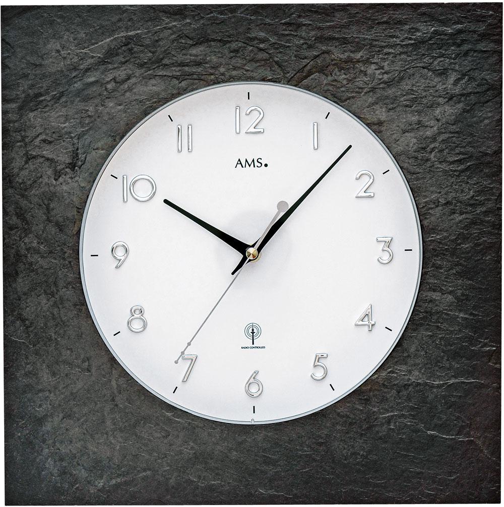 AMS radio-controlled wall clock natural slate
