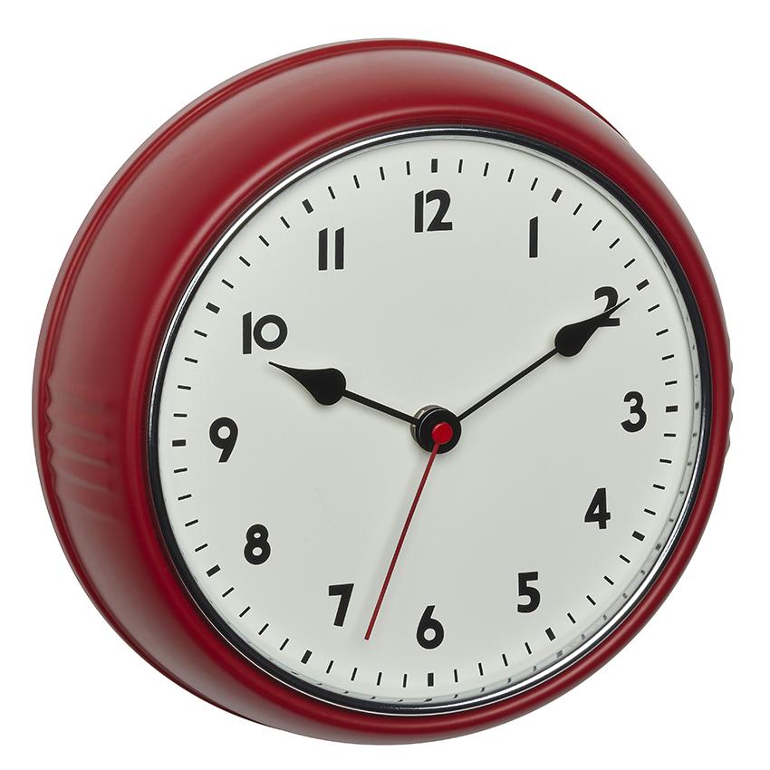 TFA radio-controlled wall clock in a retro look, red