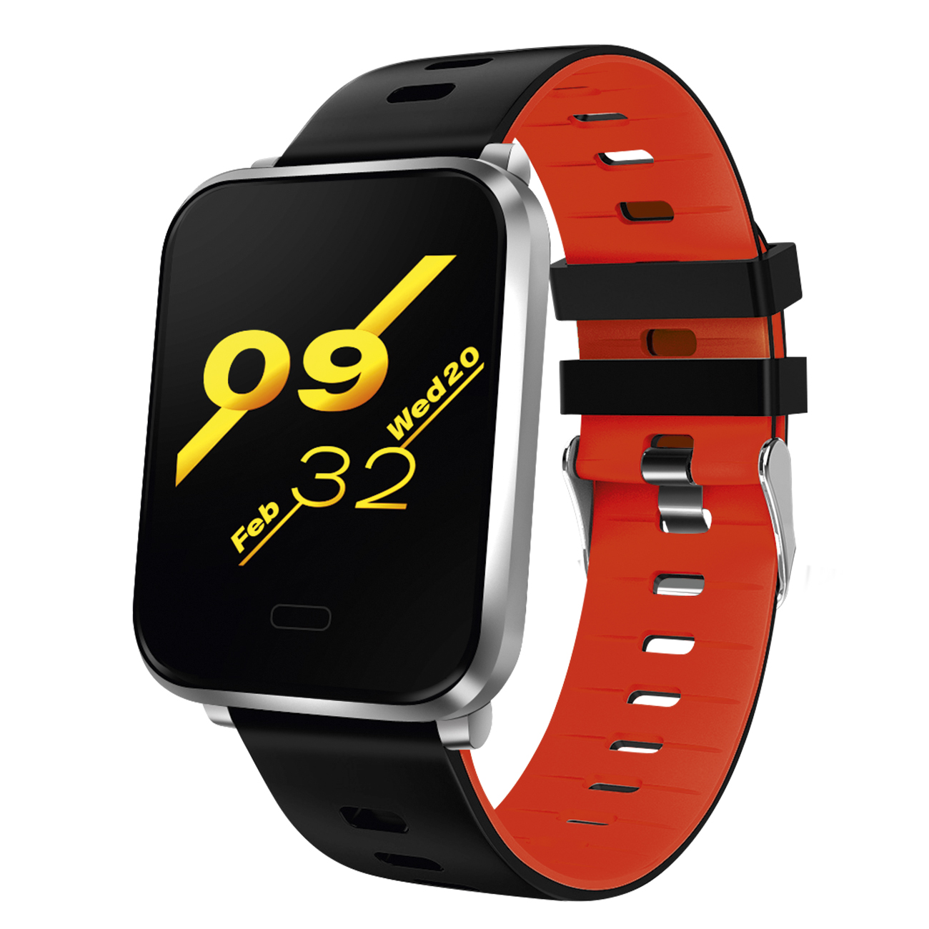 Fitness Tracker mit rot-schwarzem Silikonband