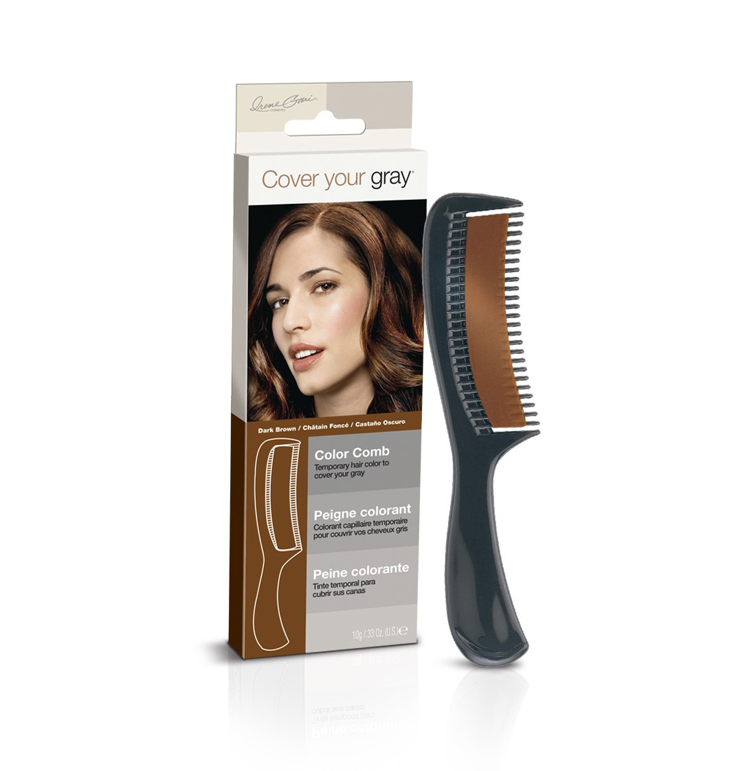 Dark brown color comb - instantly covers gray hair