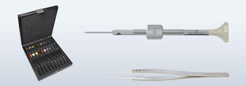 01 Screwdriver, tweezers, pliers, hammer